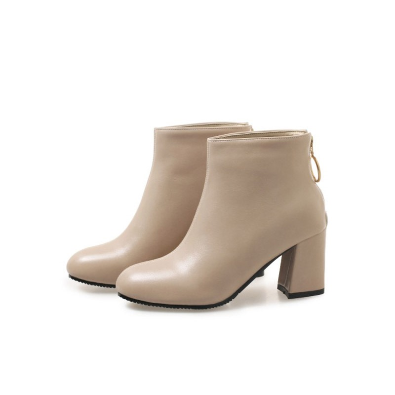 Ericdress Plain Back Zip Chunky Heel Women's Ankle Boots