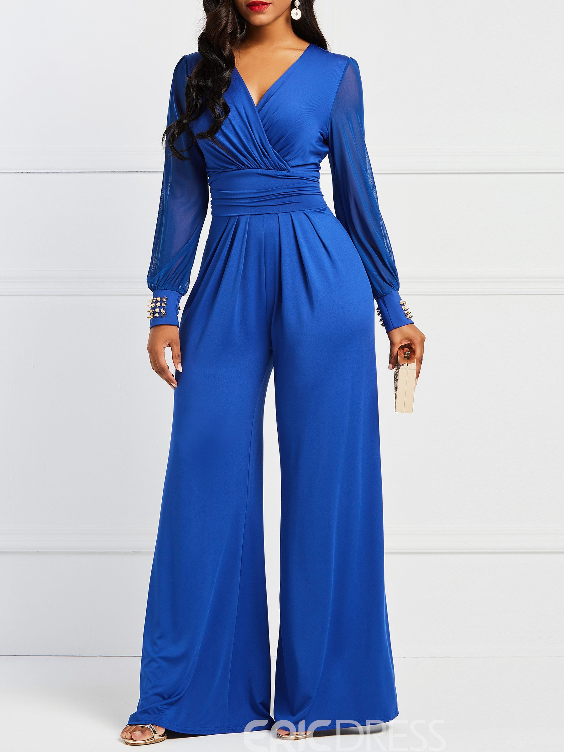 Ericdress Tunic Plain Rivet Women's Jumpsuits