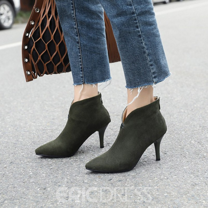 Ericdress Pointed Toe Stiletto Heel Back Zip Ankle Boots