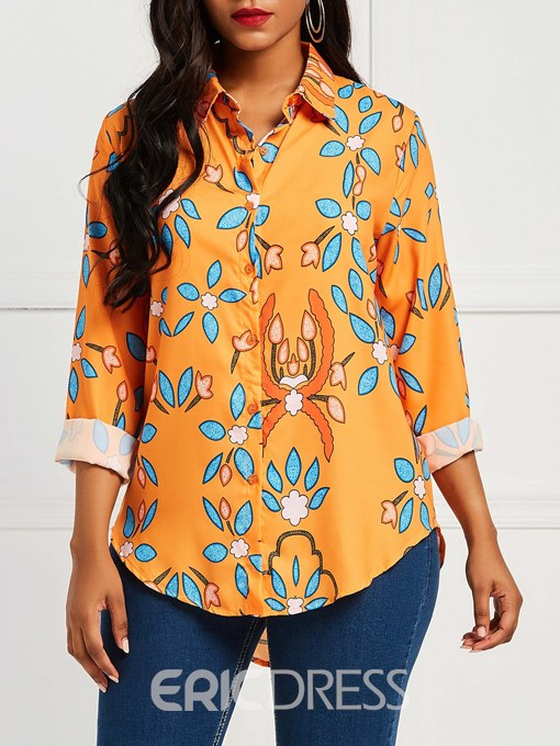 Ericdress Print Single-Breasted Floral Blouse
