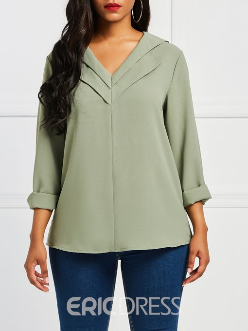 Ericdress Casual Loose Patchwork V-Neck Long Sleeve Blouse