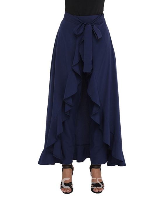 Ericdress Asymmetric Overlay Embellished Lace-Up Women's Wide Legs Pants