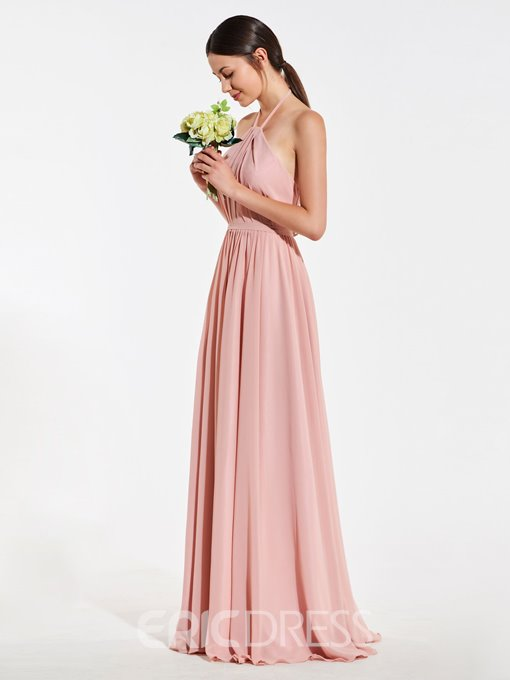 Ericdress A Line Halter Backless Long Bridesmaid Dress