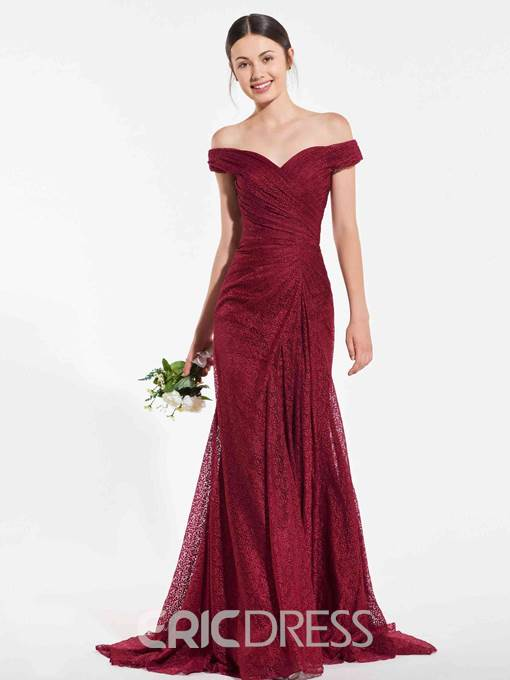 Ericdress Off The Shoulder Lace Mermaid Bridesmaid Dress 2019