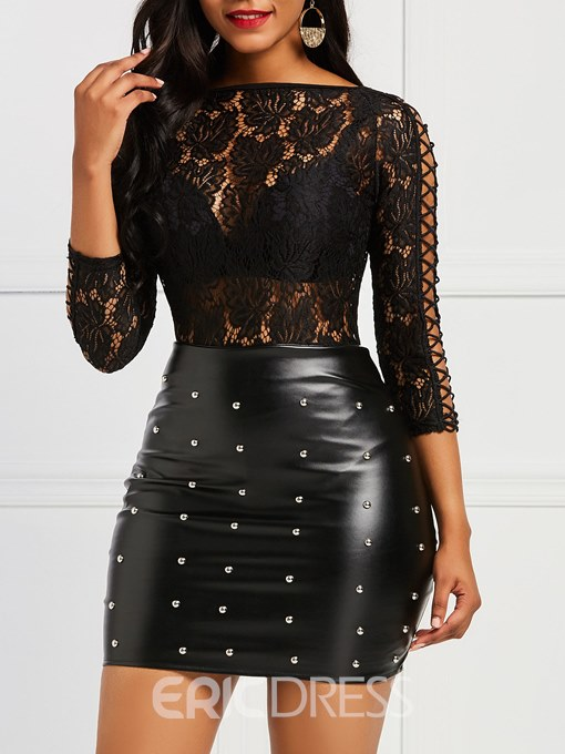Ericdress Lace Patchwork See-through Sexy Women's Bodysuit