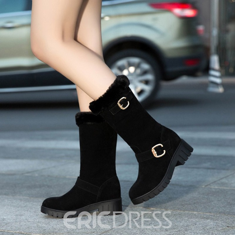 Ericdress Plain Block Heel Slip-On Women's Snow Boots