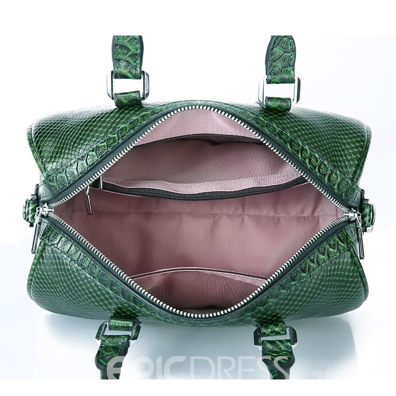 Ericdress Serpentine Leather Belt Decorated Handbag