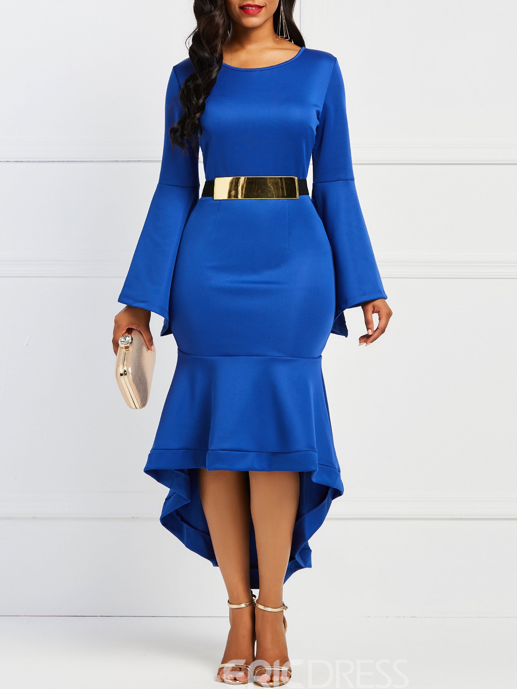 Ericdress Long Sleeves Asymmetrical Mid-Calf Women's Dress