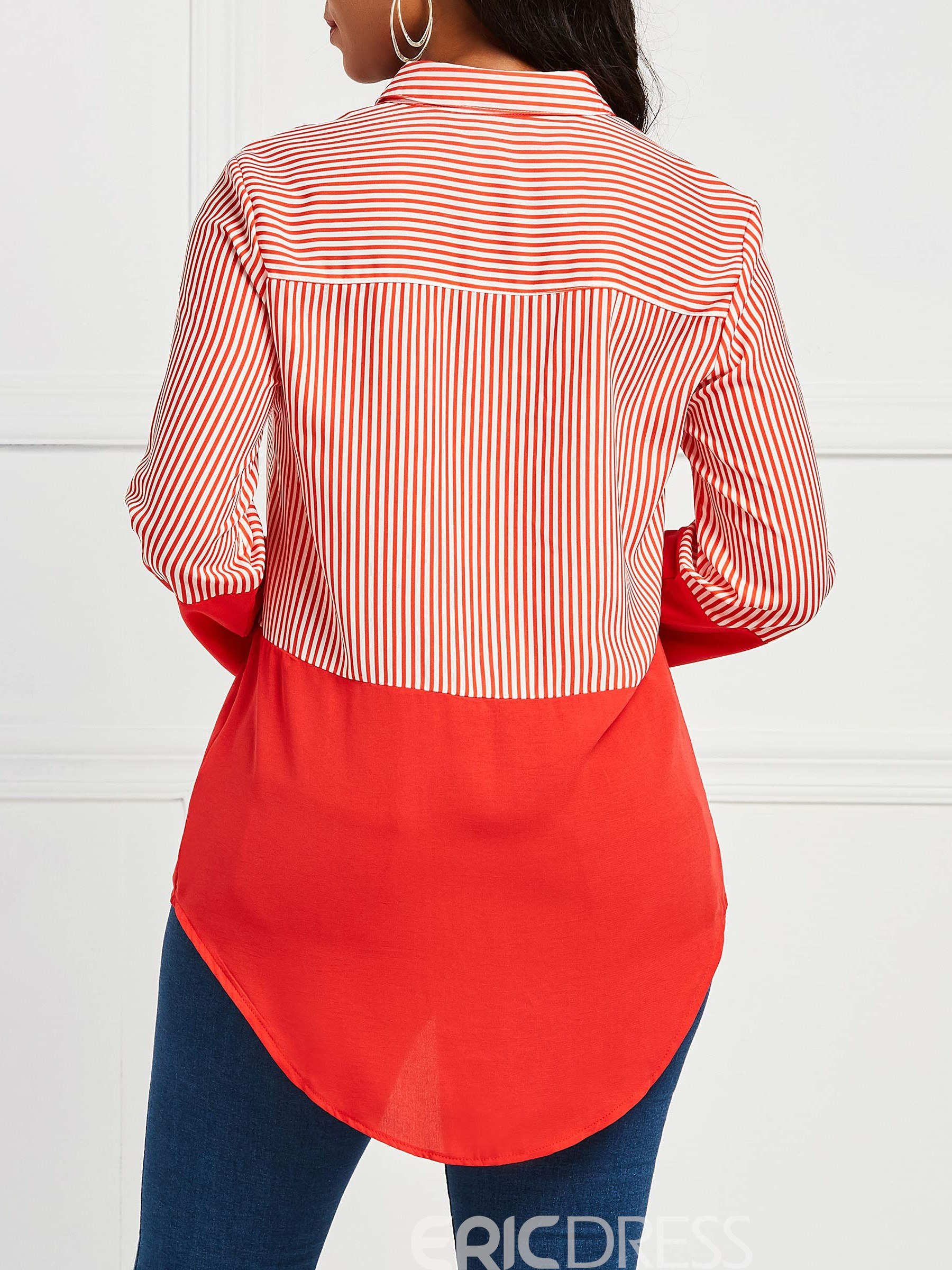 Ericdress Casual Patchwork Stripe Color Block Long Sleeve Blouse