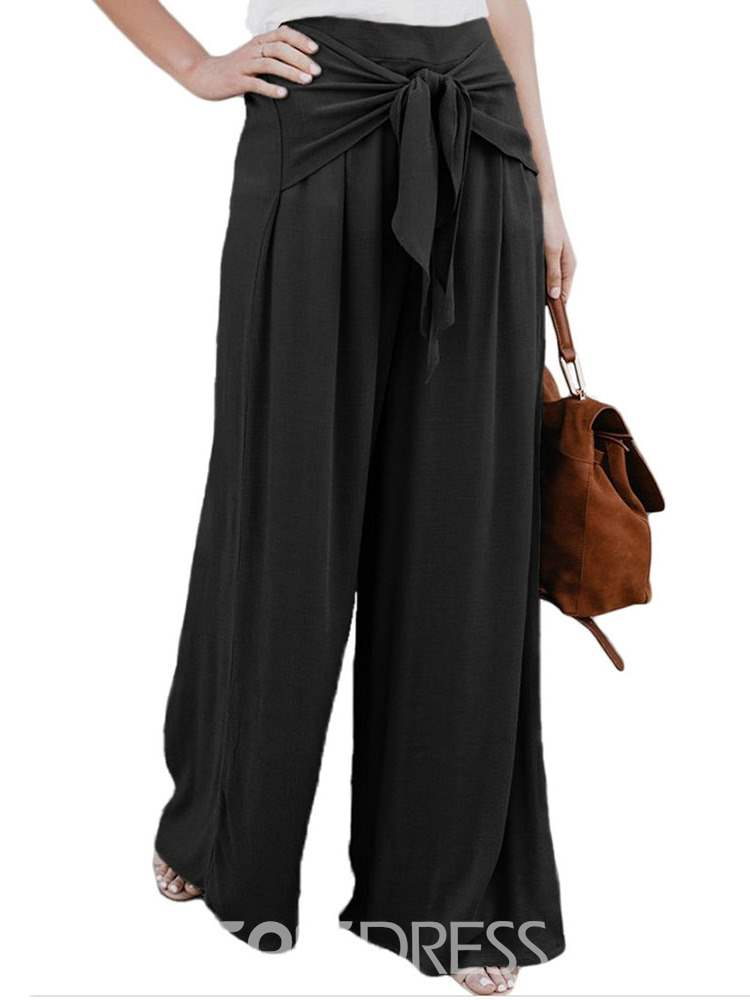 Ericdress Pleated Lace-Up Plain Women's Pants