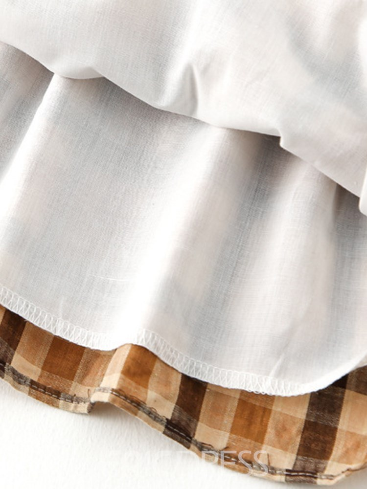 Ericdress Plaid Pleated Bowknot Peter Pan Collar Girl's Casual Dress