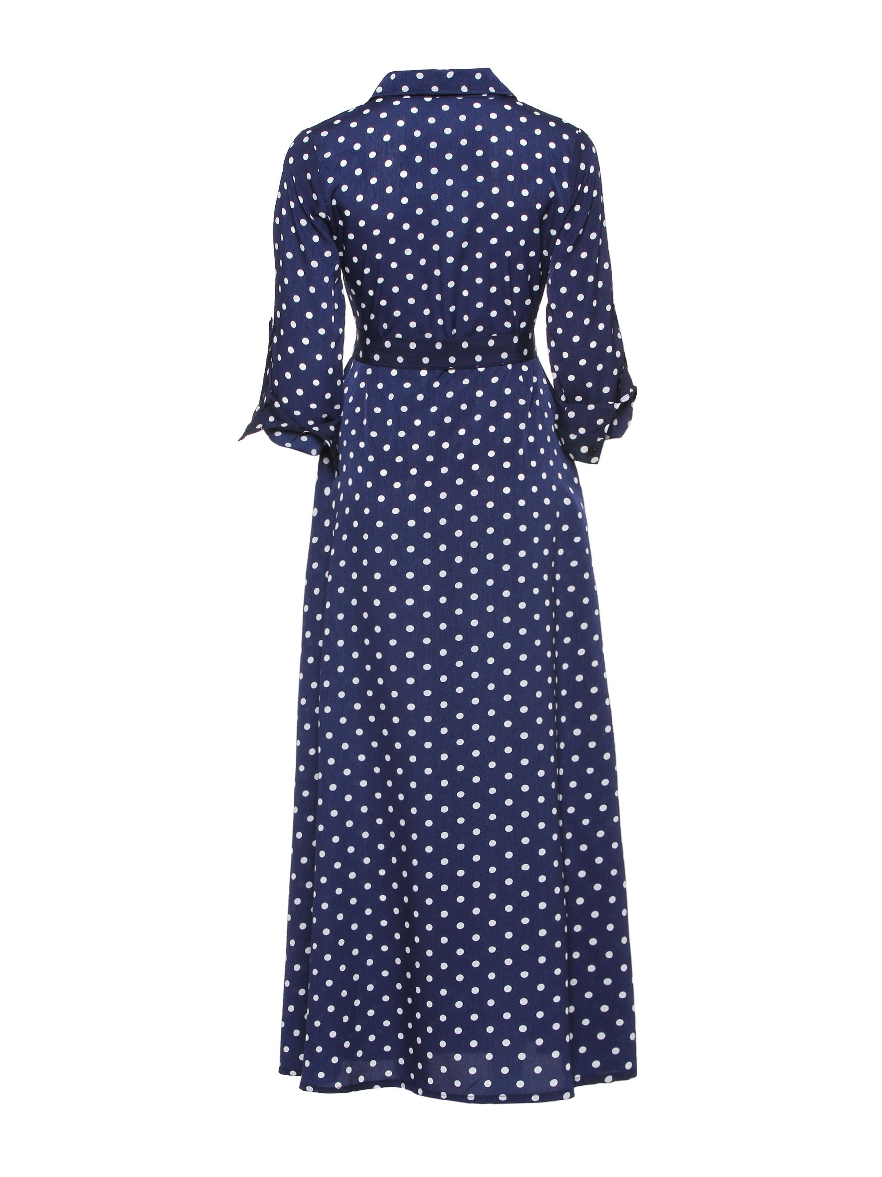 Ericdress Polka Dots A-Line Ankle-Length Polo Neck Lace-Up Pullover Dress