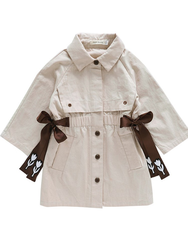 Ericdress Polo Neck Plain Lace Up Bowknot Girl's Trench Coats