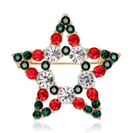 Ericdress Star Christmas Diamante Brooch Pin