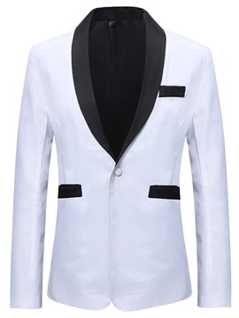 Ericdress Plain White Color Block Shawl Collar Mens Ball Blazer