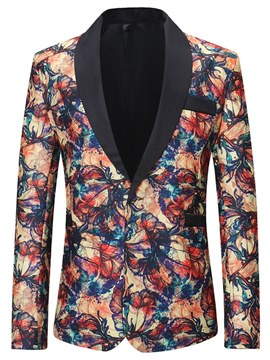 Ericdress Colorful Print Lapel One Button Mens Casual Ball Blazer Jacket
