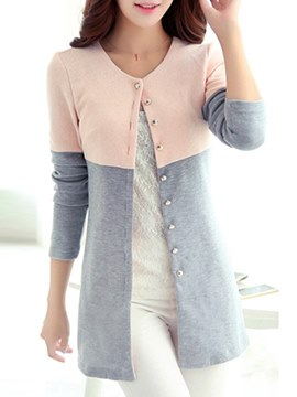 Ericdress Loose Color Block Mid-Length Cardigan