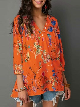 Ericdress V-Neck Floral Loose Print Long Sleeve T-shirt