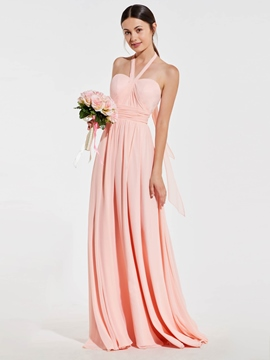 Ericdress Pink Halter Neck Backless A-Line Bridesmaid Dress