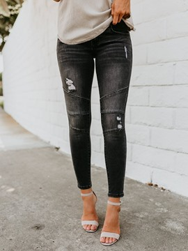 Ericdress Ripped Pencil Pants Plain Fashion Slim Jeans
