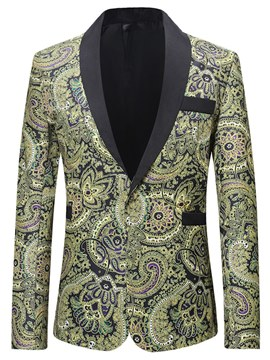 Ericdress Green Geometric Print Laple One Button Men Casual Ball Blazer