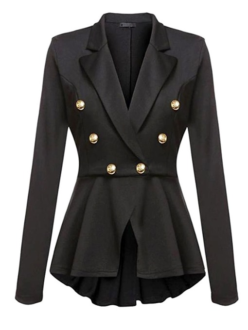 Ericdress Long Sleeve Double-Breasted Notched Lapel Regular Mid-Length Women's Casual Blazer