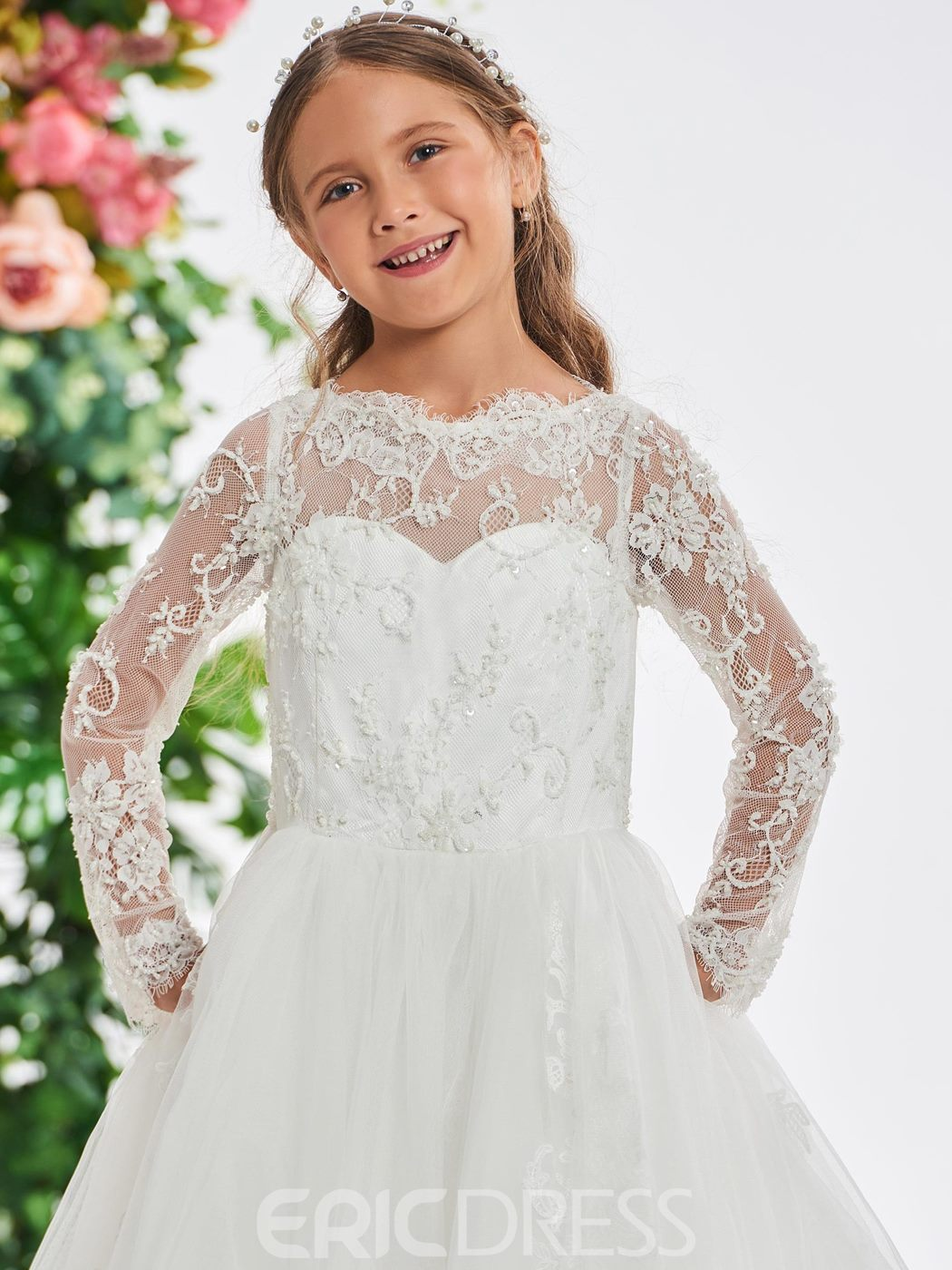 Ericdress Lace Long Sleeves A-Line Flower Girl Dress