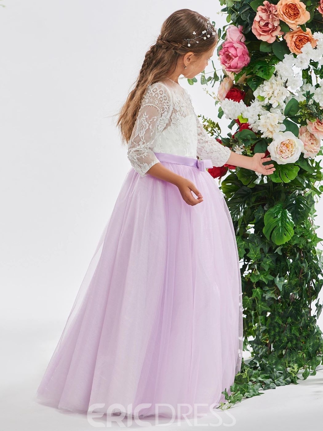Ericdress Bowknot Long Sleeves A-Line Lace Flower Girl Dress