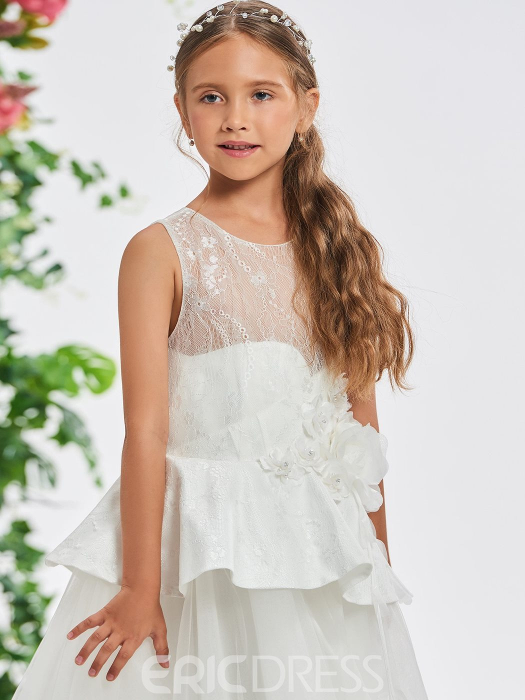 Ericdress Beaded Flowers Lace Top Girl's Party Dress