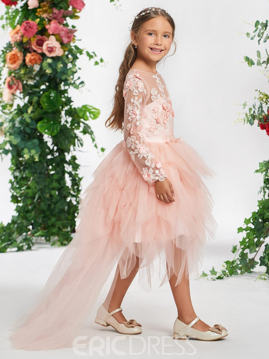 Ericdress 3D Floral A-Line Long Sleeves Flower Girl Dress