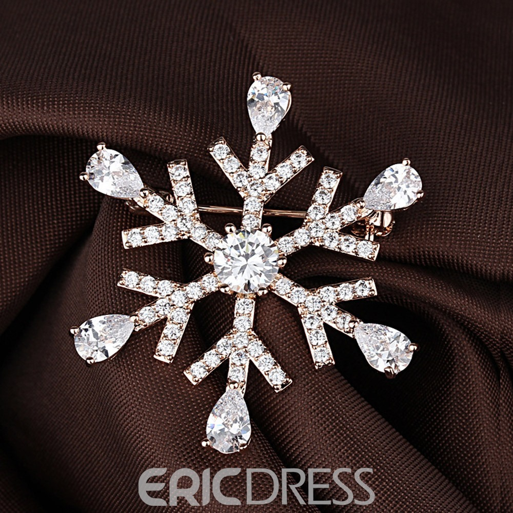 Ericdress Christmas Snowflake Brooches
