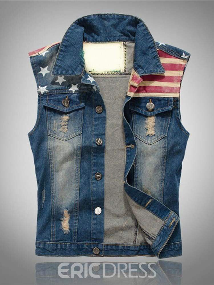 Ericdress Striped American Flag Printed Slim Mens Casual Vest
