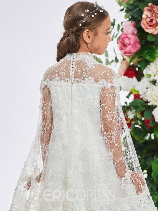 Ericdress High Neck Lace Applique Flower Girl Dress