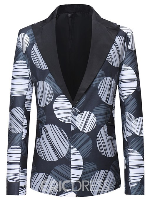 Ericdress Geometric Striped Print One Button Lapel Mens Casual Ball Blazer