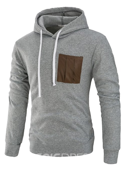 Ericdress Patchwork Plain Hooded Lace Up Slim Mens Casual Hoodies