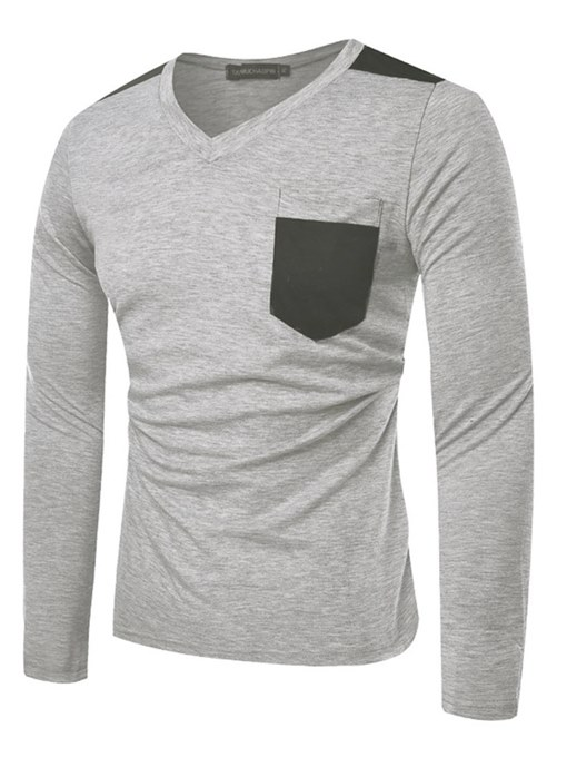 Ericdress V-Neck Color Block Pocket Mens Casual Long Sleeve T Shirts