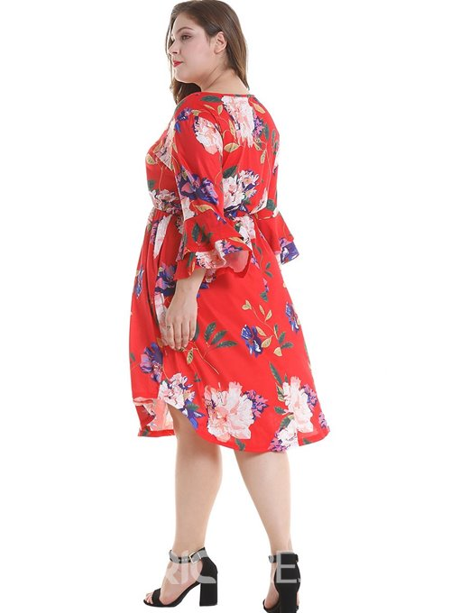 Ericdress Plus Size Falbala Mid-Calf Round Neck Travel Look Ruffle Sleeve Dress