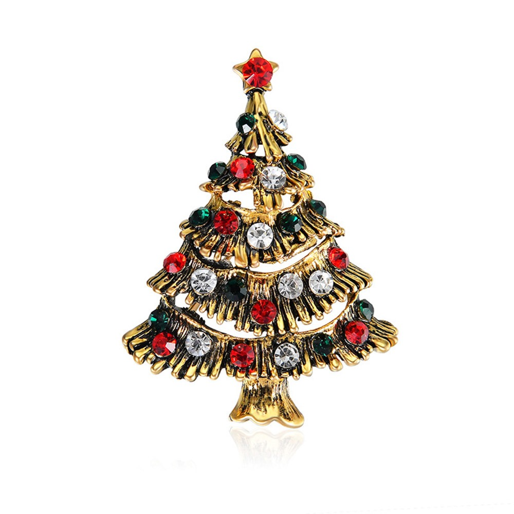 Ericdress Christmas Tree Dianmante Brooch Pins