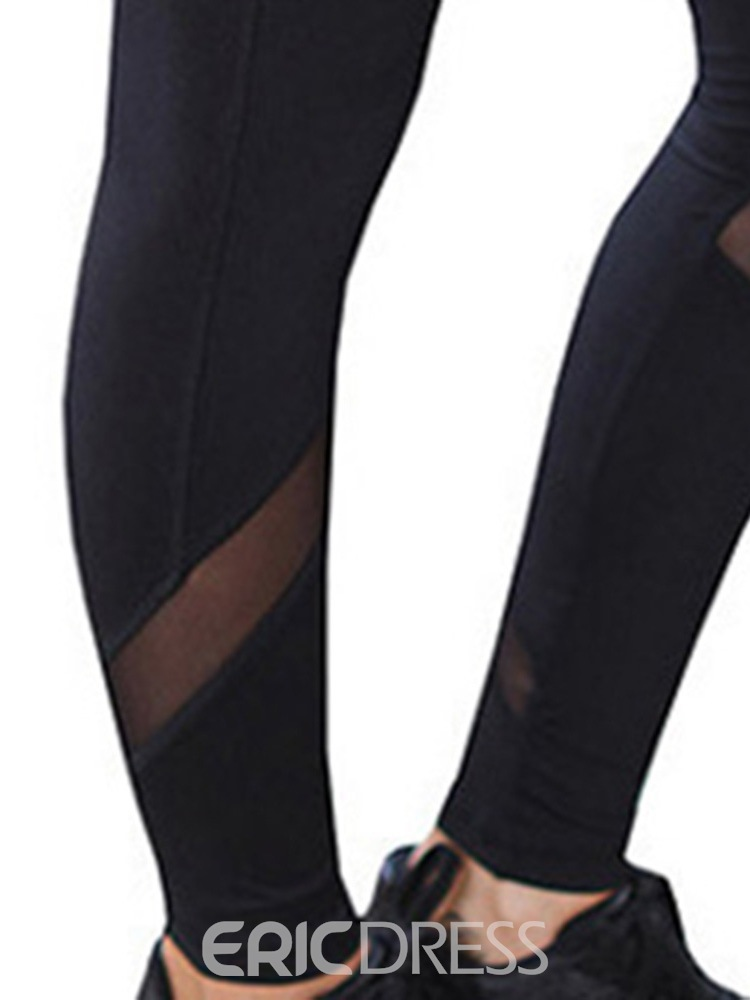 Ericdress Mesh Patchwork Solid Full Length Yoga Pants