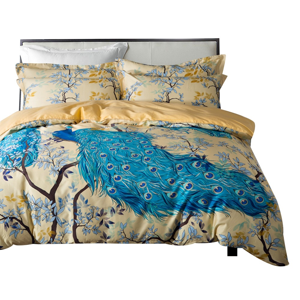 Vivilinen Designer 60S Brocade Blue Peacock and Branches Luxury 4-Piece Cotton Bedding Sets/Duvet Cover
