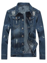 Ericdress Plain Worn Slim Fitted Ripped Mens Casual Denim Jackets фото