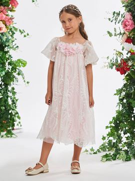51b7cd14f9 Ericdress Short Sleeves Flowers Tea-Length Girl s Party Dress