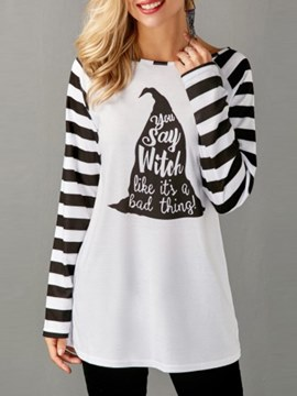 Ericdress Print Loose Casual Letter Stripe Long Sleeve T-shirt