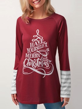 Ericdress Loose Print Loose Scoop Letter Long Sleeve T-shirt