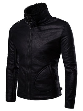 Ericdress Black Plain Zipper Slim Mens Casual PU Leather Winter Jacket