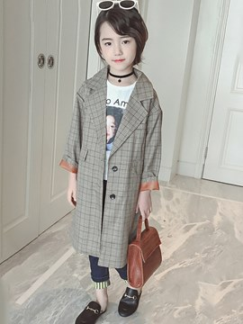 Ericdress Plaid Notched Lapel Print Girl's Casual Long Trench Coat