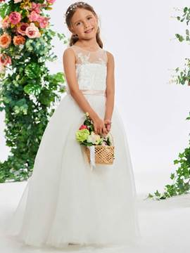 Ericdress Scoop Neck Appliques Beaded Flower Girl Dress