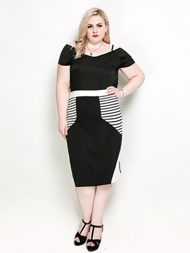 Ericdress Plus Size Pencil Skirt Color Block Mid-Calf Skirt