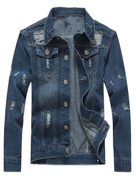 Ericdress Plain Worn Slim Fitted Ripped Mens Casual Denim Jackets
