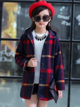 Ericdress Plaid Hooded Mid-Length Straight Girl's Casual Coats